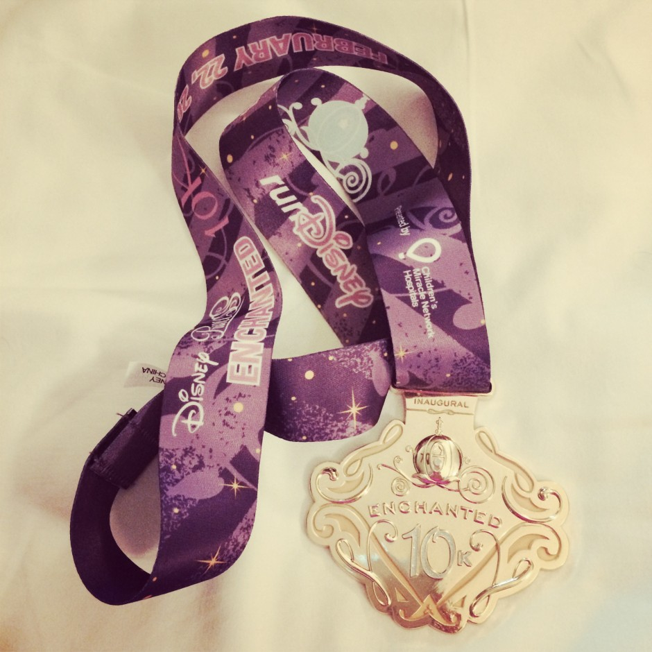 2014 inaugural enchanted 10k disney princess half marathon glass slipper challenge race medal