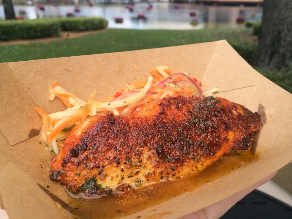 2014 epcot international flower and garden festival  urban farm eats ghost pepper dusted tilapia