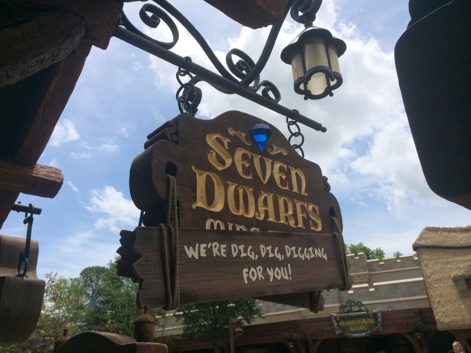 disney magic kingdom seven dwarfs mine train sign