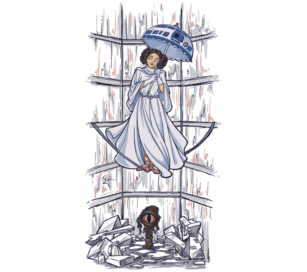 parasol girl haunted mansion princess leia shirt