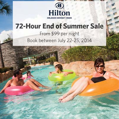 Hilton Bonnet Creek at Walt Disney World 72-Hour $99 End of Summer Flash Sale