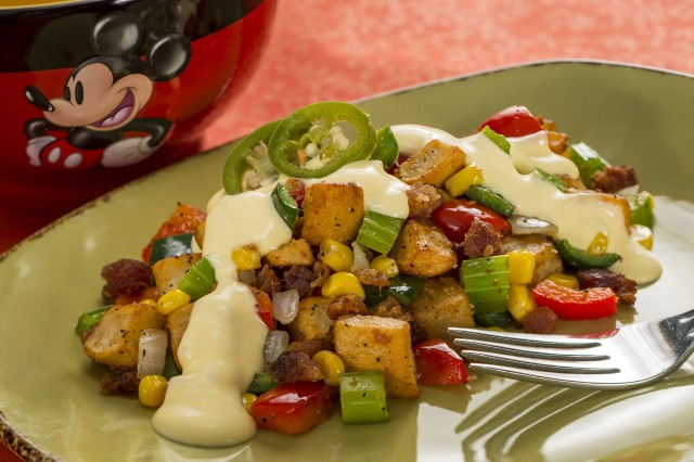 Nueske's Pepper Bacon Hash with Sweet Corn, Potatoes, Hollandaise and Pickled Jalapeños at the new Farm Fresh Marketplace