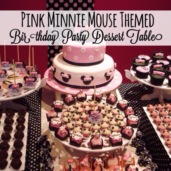 Pink Disney Minnie Mouse Birthday Party Dessert Table Ideas