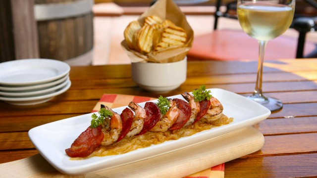 Grilled Shrimp and Spanish Chorizo with Wine - Alfresco Tasting Terrace in DCA