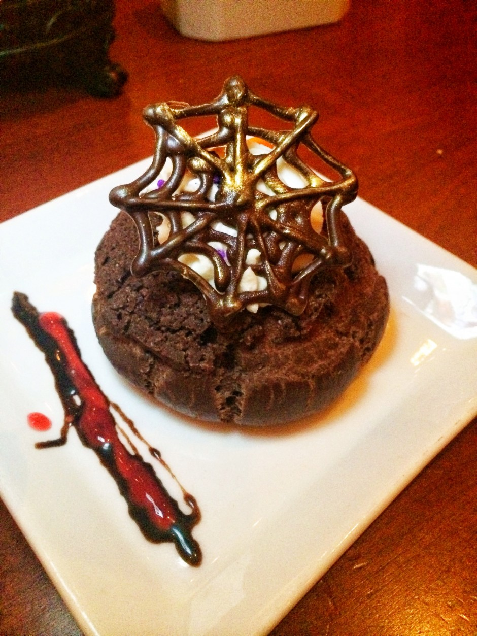 Dark Chocolate Cream Puff with Blood Orange Filling for Halloween at Disney's Be Our Guest Restaurant in the Magic Kingdom