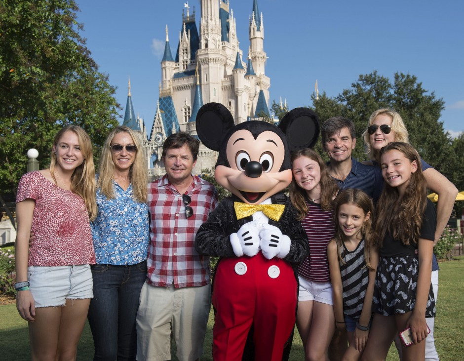 Michael J. Fox and George Stephanopoulos Take a Family Photo In Front of Cinderella Castle at the Magic Kingdom
