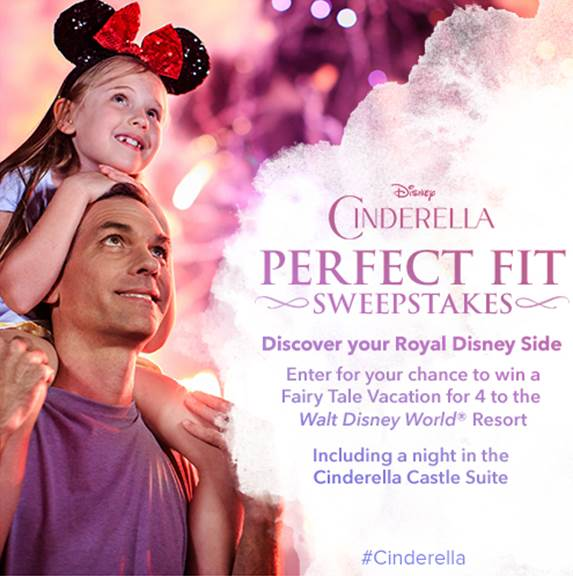 Cinderella Perfect Fit Sweepstakes Offering Free Disney Vacation and Stay in Cinderella Castle Suite