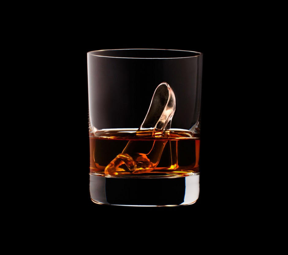 Cinderella Glass Slipper Ice Cube Carved with a 3D Printer