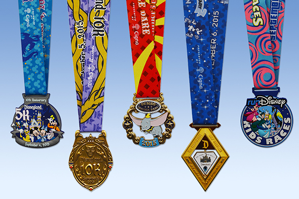 2015 runDisney Disneyland Half Marathon Weekend Medals {5K, 10K, Half, Kids & Dumbo Double Dare Challenge}
