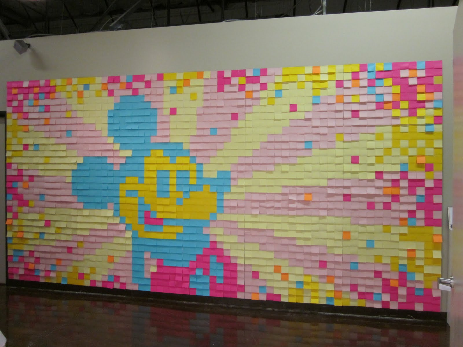 Over 2000 post it notes make up this mickey mouse wall for Creating a mural