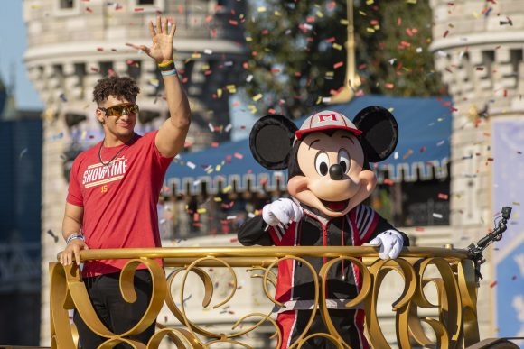 Patrick Mahomes with Mickey Mouse