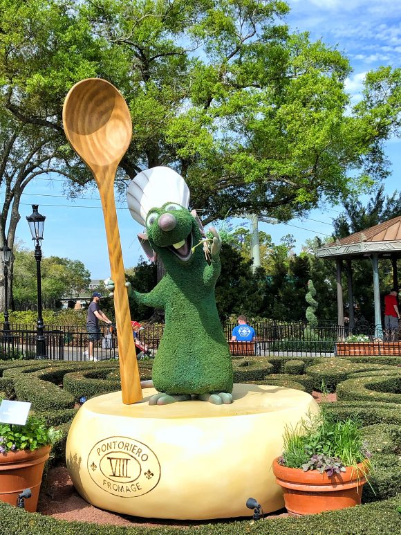 The Remy topiary is new this year at the 2020 Epcot Flower & Garden Festival at Walt Disney World in Orlando, Florida