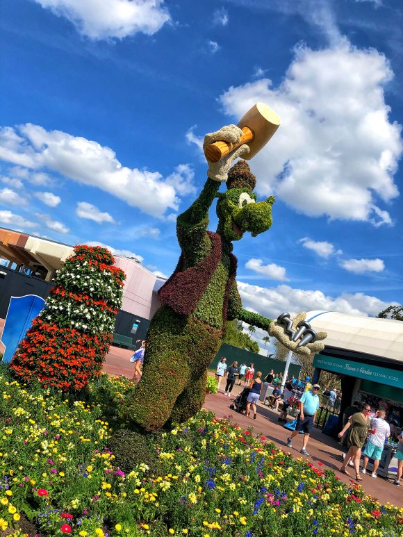 Goofy topiary at the Flower and Garden Festival 2020 at Epcot in Walt Disney World in Orlando, Florida