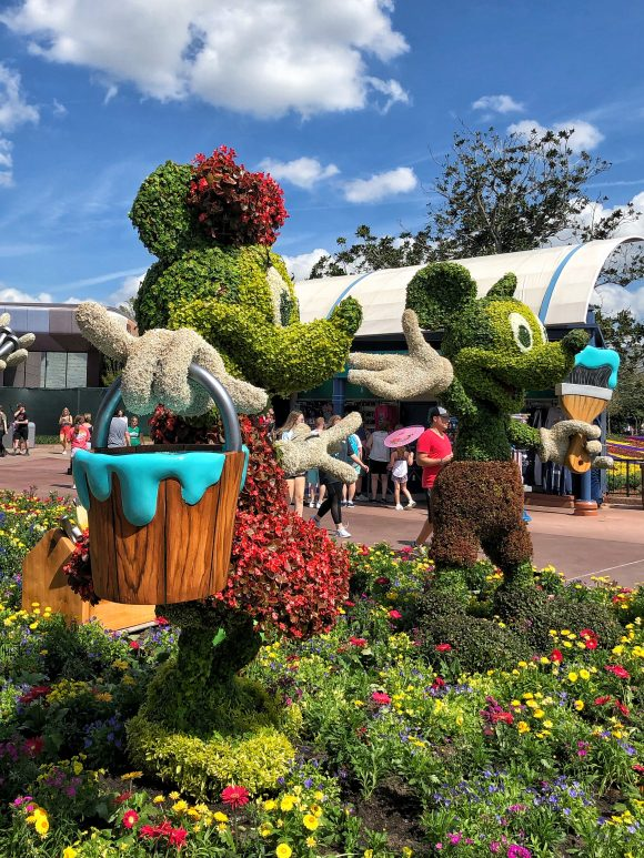 Mickey and Minnie Topiaries at the 2020 flower and garden festival at Epcot at Walt Disney World