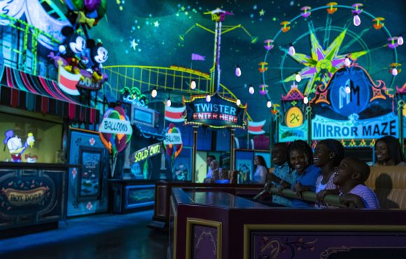 Mickey and Minnie's Runaway Railway Carnival Scene in the new ride at Disney's Hollywood Studios