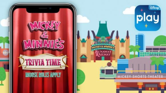 Mickey and Minnie's Trivia Time is a new game available within the Play Disney Parks app