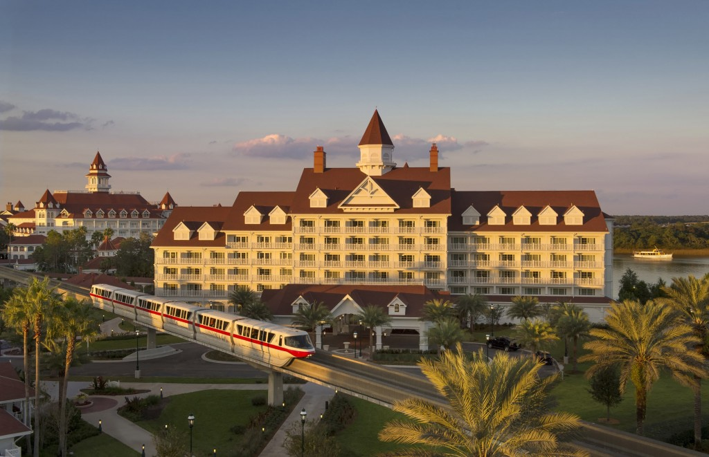 Monorail in front of Disney's Grand Floridian Resort and Villas at Walt Disney World in Orlando, Florida
