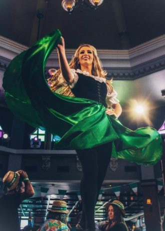 Irish dancers entertain at Raglan Road and will be on hand for St. Patrick's Day at the Irish Pub at Walt Disney World's Disney Springs
