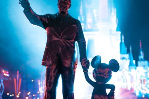 Partners statue after dark at the Magic Kingdom at Walt Disney World in Orlando, Florida